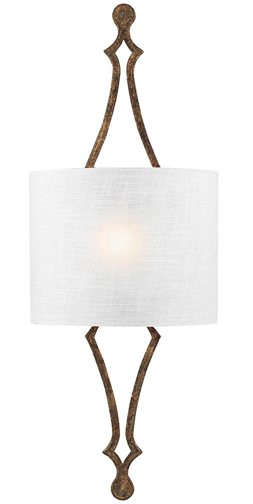 Feiss Tilling 1 Lamp Wall Light Distressed Gold Leaf White Linen Shade