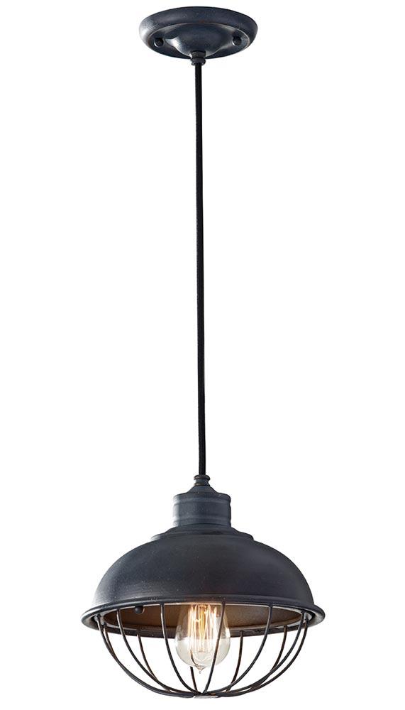 Feiss Urban Renewal Industrial 1 Light Mini Pendant Antique Iron