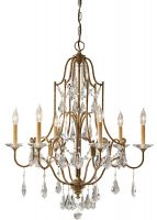 Feiss Valentina 6 Light Chandelier Oxidised Bronze With Crystal