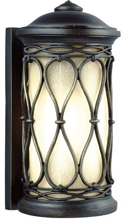 Feiss Wellfleet Small Outdoor Wall Lantern Aged Bronze Amber Glass