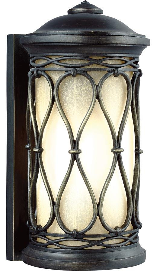 Feiss Wellfleet Small Outdoor Wall Lantern Aged Bronze Amber Glass