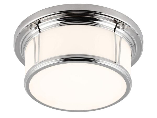 Feiss Woodward Flush 2 Light Medium Bathroom Ceiling Light Chrome