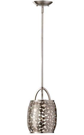 Feiss Zara 1 Light Mini Ceiling Pendant Brushed Steel Organza Fabric