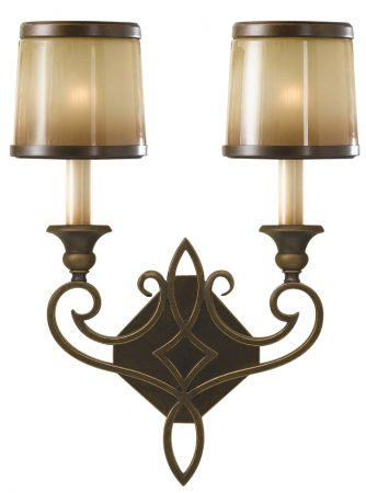 Feiss Justine Astral Bronze 2 Light Wall Light Oak Glass Shades