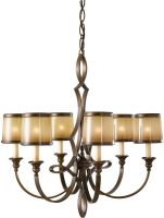 Feiss Justine Astral Bronze 6 Light Chandelier Oak Glass Shades