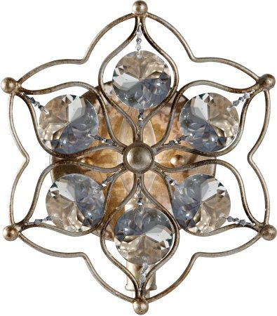 Feiss Leila 1 Lamp Crystal Wall Light Burnished Silver