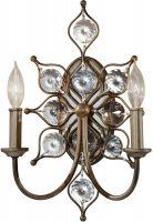 Feiss Leila 2 Lamp Crystal Wall Light Burnished Silver