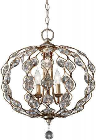 Feiss Leila Medium 3 Light Crystal Pendant Burnished Silver