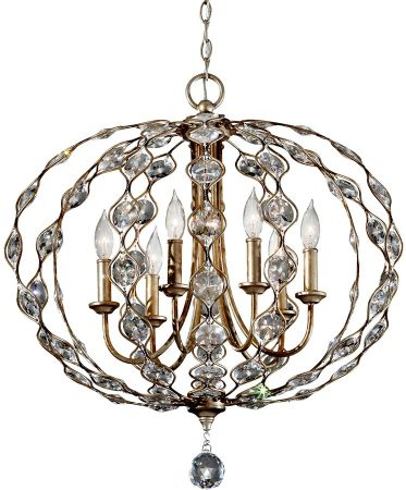 Feiss Leila Large 6 Light Crystal Pendant Chandelier Burnished Silver