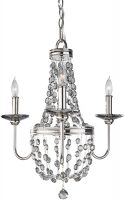 Feiss Malia 3 Light Mini Crystal Pendant Chandelier Polished Nickel