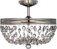 Feiss Malia 3 Light Crystal Semi Flush Fitting Polished Nickel