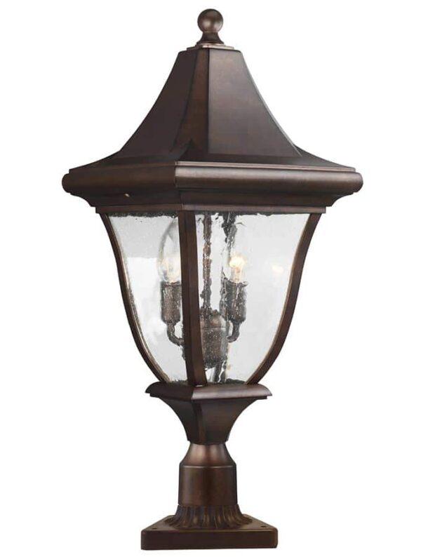 Feiss Oakmont 3 Light Medium Outdoor Post Lantern Patina Bronze IP44
