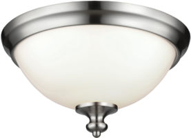 Feiss Parkman Brushed Steel 2 Lamp Opal Glass Flush Light