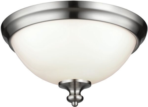 Feiss Parkman Brushed Steel 2 Lamp Opal Glass Flush Light