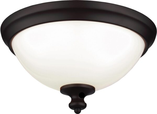 Feiss Parkman Oil Rubbed Bronze 2 Lamp Opal Glass Flush Light