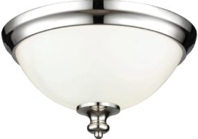 Feiss Parkman Polished Nickel 2 Lamp Opal Glass Flush Light