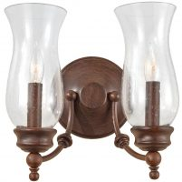 Feiss Pickering Lane Bronze Twin Wall Light With Storm Glass Shades