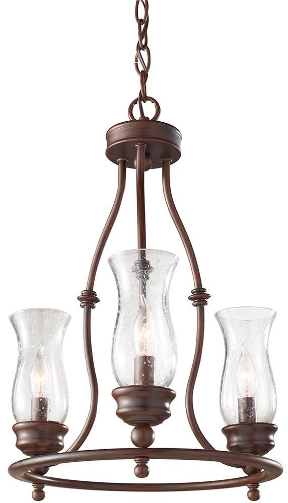 Feiss Pickering Lane Bronze 3 Light Chandelier Storm Glass Shades