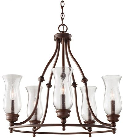 Feiss Pickering Lane Bronze 5 Light Chandelier Storm Glass Shades