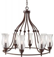 Feiss Pickering Lane Bronze 8 Light Chandelier With Glass Shades