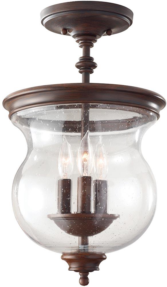 Feiss Pickering Lane 3 Light Hanging Glass Lantern Bronze