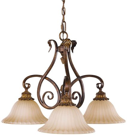 Feiss Sonoma Valley 3 Light Down Chandelier Aged Tortoise Shell