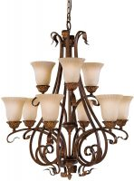 Feiss Sonoma Valley 9 Light Tiered Chandelier Aged Tortoise Shell