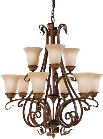 Feiss Sonoma Valley Large 9 Light Chandelier Aged Tortoise Shell