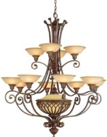 Feiss Stirling Castle Large 13 Light Tiered Chandelier British Bronze