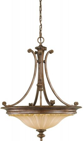 Feiss Stirling Castle 3 Light Pendant Chandelier British Bronze