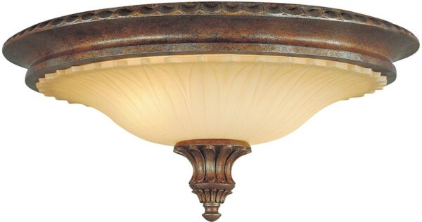 Feiss Stirling Castle 2 Light Flush Mount Ceiling Light British Bronze