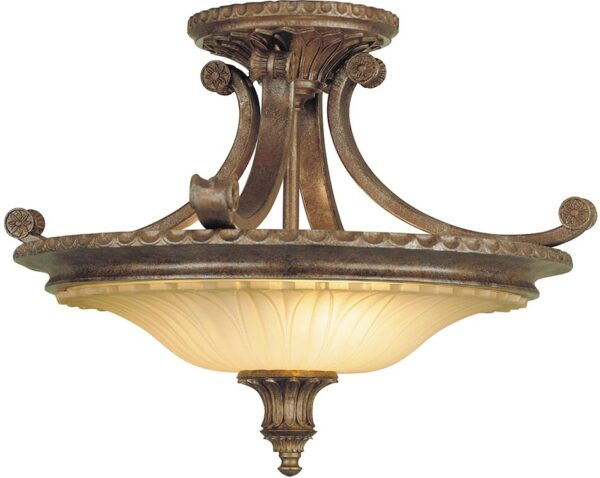 Feiss Stirling Castle 2 Light Excavation Glass Semi Flush British Bronze