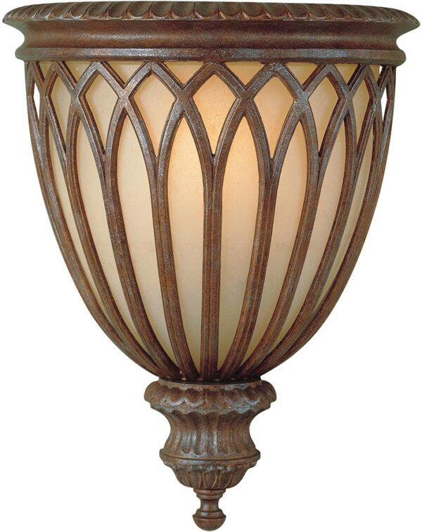 Feiss Stirling Castle 1 Lamp Caged Wall Up-Lighter British Bronze