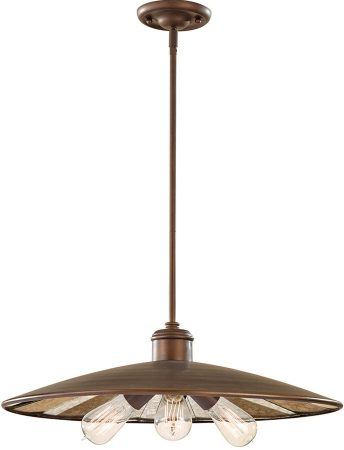 Feiss Urban Renewal 3 Light Bronze Large Industrial Pendant