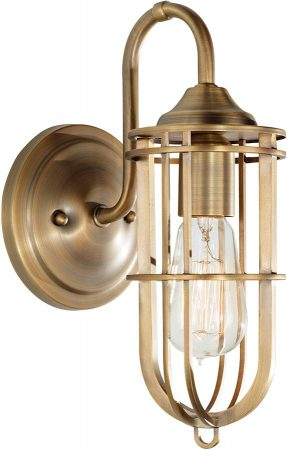 Feiss Urban Renewal Industrial Style Caged Wall Light In Brass