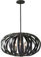 Feiss Woodstock Oval Black Iron 6 Light Pendant Chandelier