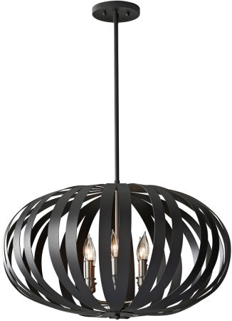 Feiss Woodstock Oval Black Iron 6 Light Pendant Chandelier