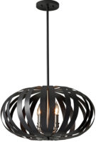 Feiss Woodstock Oval Black Iron 4 Light Pendant Chandelier