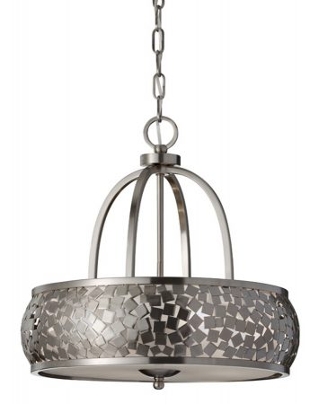 Feiss Zara 4 Light Ceiling Pendant Brushed Steel Organza Fabric