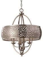 Feiss Zara Large 4 Light Brushed Steel Mosaic Chandelier
