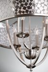Feiss Zara 4 Light Large Chandelier Brushed Steel Organza Fabric
