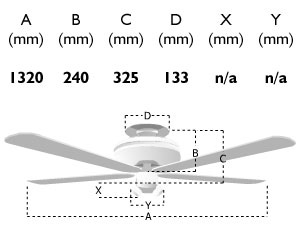 110019: 52-inch classic ceiling fan dimensions