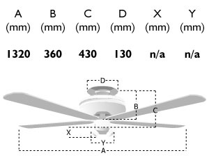111665: 52-inch palm ceiling fan dimensions