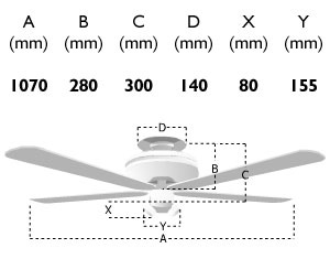 111795: 42-inch phoenix ceiling fan dimensions