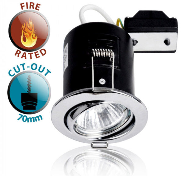 Polished Chrome 90 Min Fire Rated GU10 Tilt Recessed Downlight