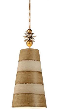 Flambeau Anemone 1 Light Pendant Ceiling Light Taupe & Cream