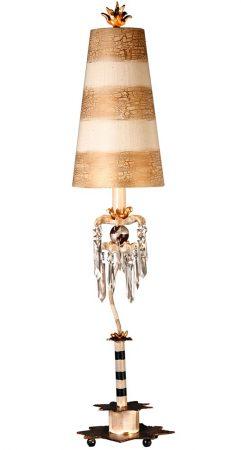 Flambeau Birdland 1 Light Large Table Lamp Black Cream Gold