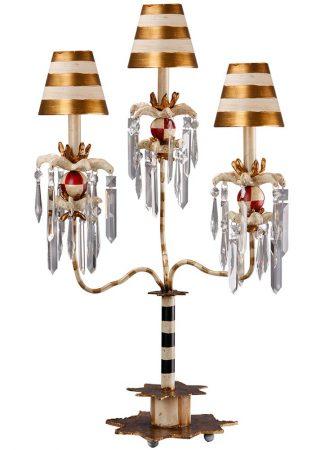 Flambeau Birdland 3 Arm Large Table Lamp Black Cream Gold