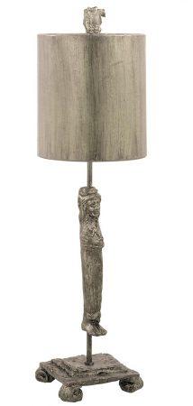 Flambeau Caryatid 1 Light Table Lamp Aged Silver Shade