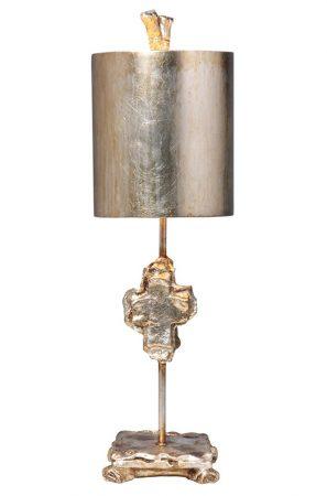 Flambeau Cross 1 Light Table Lamp Silver Leaf Shade